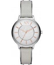 Armani Exchange AX5311 Ladies grijs lederen band jurk horloge