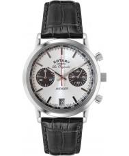Rotary GS90130-06 Mens les originales sport wreker zwart staal chronograafhorloge