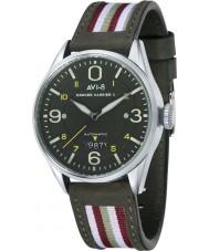 AVI-8 AV-4040-02 Mens venter kiekendief ii two tone lederen band horloge met extra groen nylon bandje