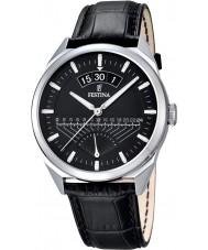 Festina F16873-4 Mens klassieke zwarte lederen band horloge