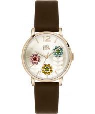 Orla Kiely OK2088 Ladies betty swarovski bloemrijke ingesteld donker bruin lederen band horloge