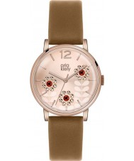 Orla Kiely OK2090 Ladies betty swarovski bloemrijke ingesteld bruin lederen band horloge