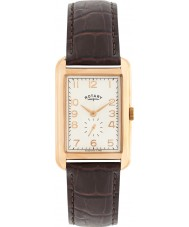 Rotary GS02699-01 Mens uurwerken portland rose goud bruin lederen band horloge