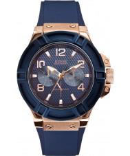 Guess W0247G3 Mens rigour blauwe siliconen band horloge