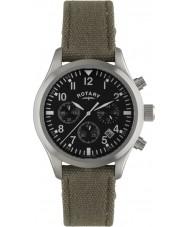 Rotary GS02680-19 Mens uurwerken piloot chronograaf khaki canvas riem horloge