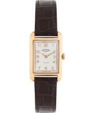 Rotary LS02699-01 Ladies uurwerken Portland vintage look bruine lederen band horloge