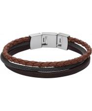 Fossil JF02213040 Heren casual bruine meerdere lederen band armband