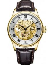 Rotary GS02941-03 Mens uurwerken verguld bruin skelet mechanisch horloge