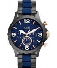 Fossil JR1494 Mens nate chronograaf zwart ip navy horloge