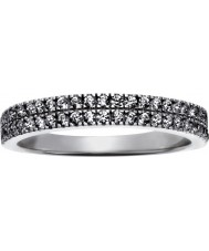FROST by NOA 145043-56 Ladies rhodium plated ring met twee rijen van cz - size p