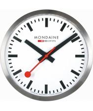 Mondaine A990-CLOCK-16SBB Zilverkleurige metalen wandklok