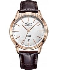 Rotary GS90164-02 Mens les originales traditie automatische rose goud verguld bruine lederen band horloge