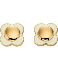 Orla Kiely E5160 Ladies dasiy keten 18ct goud roombloem oorbellen