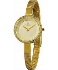 Obaku V129LEGGMG Ladies steen set vergulde mager mesh armband horloge