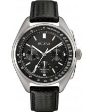 Bulova 96B251 Mens special edition maan zwart lederen band horloge
