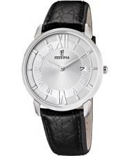 Festina F6813-1 Mens zwart lederen band horloge