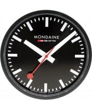 Mondaine A990-CLOCK-64SBB Black metal wandklok