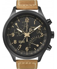 Timex T2N700 Mens Black tan fly-back chronograaf horloge