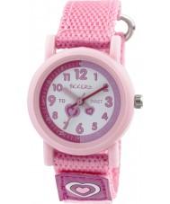 Tikkers TK0112 Meisjes roze nylon band horloge