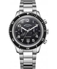 Rotary GB05021-04 Mens uurwerken oceaan wreker chrono zwarte stalen horloge