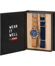 Timex TWG012800 Mens weekender beige lederen en reserveonderdelen blauwe nylon chronograaf horloge cadeau set