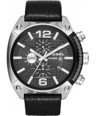 Diesel DZ4341 Mens overflow chronograaf zwart lederen band horloge