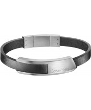 Calvin Klein KJ4MBB090100 Mens bump zwart lederen armband