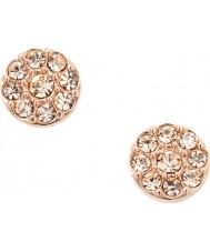 Fossil JF00830791 Ladies vintage glitter rose goud staal oorbellen