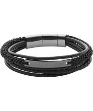 Fossil JF02378793 Mens vintage toevallige zwarte gelaagde armband