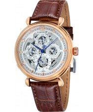 Thomas Earnshaw ES-8043-04 Mens grand kalender bruine lederen band horloge