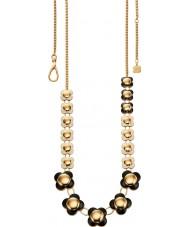 Orla Kiely N4020 Ladies daisy chain 18ct goud monochrome lange bloem ketting