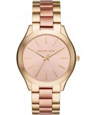 Michael Kors MK3493 Dames slanke landingsbaan goud en roze armband horloge