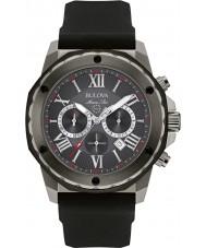 Bulova 98B259 Mens marine ster zwarte siliconen band chronograaf horloge