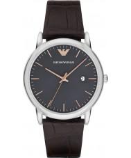 Emporio Armani AR1996 Mens jurk donker bruin lederen band horloge