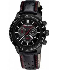 Wenger 01-0853-108 Mens roadster zwart lederen chronograaf