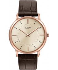 Bulova 97A126 Mens ultraslanke bruin lederen band horloge