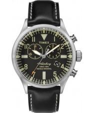 Timex TW2P64900 Mens erfgoed zwart lederen band waterbury horloge