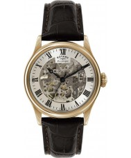 Rotary GS02942-01 Mens uurwerken rose goud verguld bruin skelet mechanisch horloge