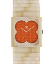 Orla Kiely OK4009 Ladies lucy matte oranje bleke hoorn expander strap horloge