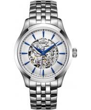 Rotary GB05032-06 Heren zilver toon staalskelet mechanisch horloge
