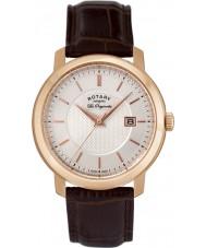 Rotary GS90093-06 Mens les originales bruin lederen horloge