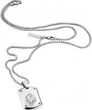 Police 25552PSS-01 Mens kristal hoofd zilveren stalen ketting met swarovski kristal