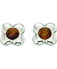 Orla Kiely E5225 Ladies sterling zilveren bloem oorbellen met tijgers oog