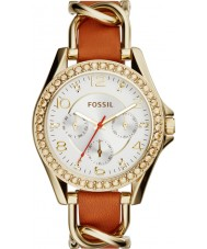Fossil ES3723 Ladies riley bruin lederen band horloge