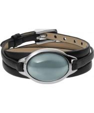 Skagen SKJ0390040 Ladies zee glas zwart lederen armband met grijze steen