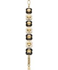 Orla Kiely B4796 Ladies daisy chain 18ct goud zwart-wit bloem armband