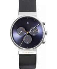 Jacob Jensen 605 Mens chronograaf blauw zwart horloge