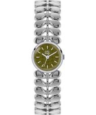 Orla Kiely OK4011 Ladies laurier mat olijf zilver toon stalen horloge