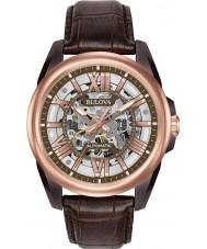 Bulova 98A165 Mens automatische bruine lederen band horloge