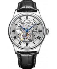 Rotary GS02940-06 Mens uurwerken zilver zwart skelet mechanisch horloge